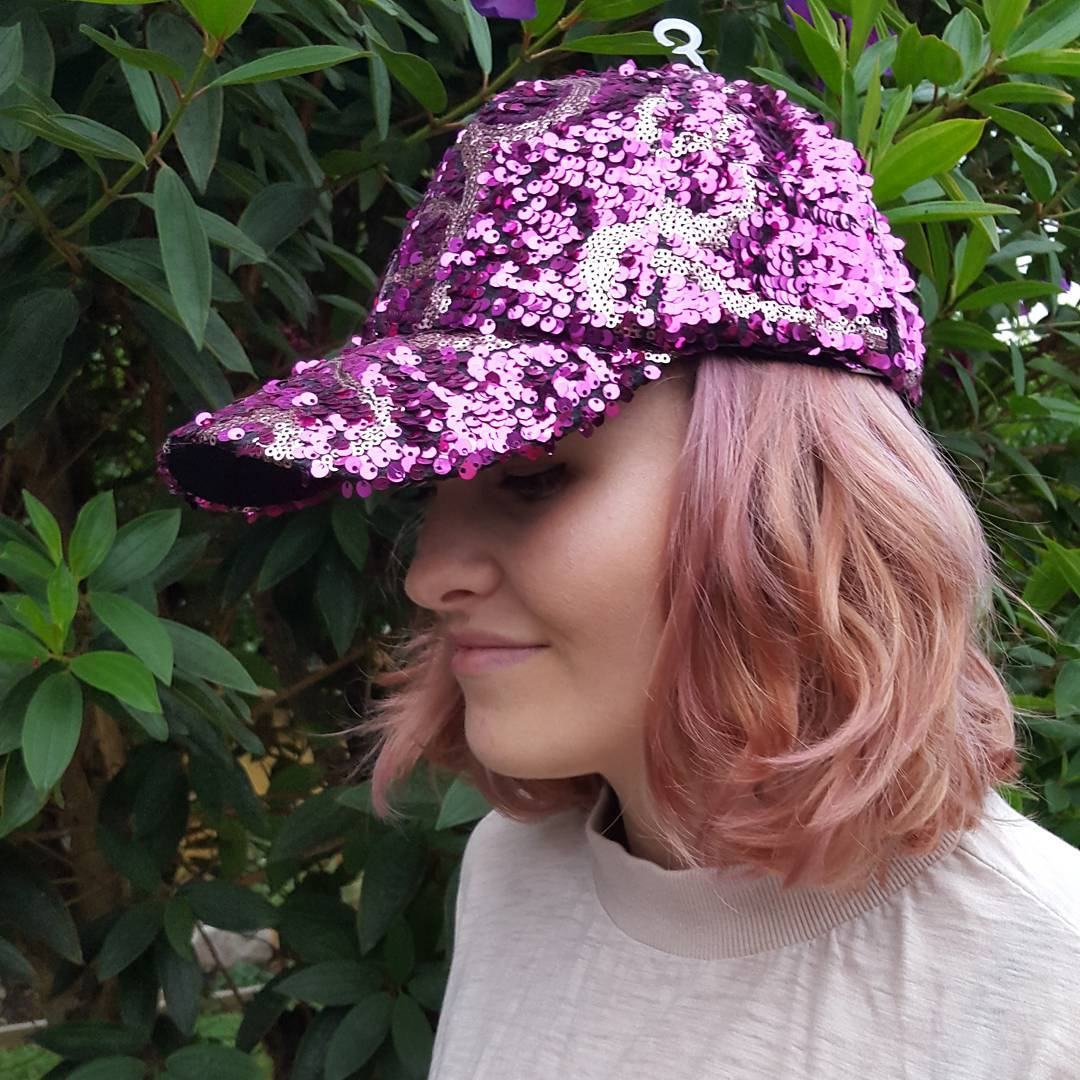 Bling BASEBALL CAPS Glittering Purple and Silver Sequin Cap for Ladies
