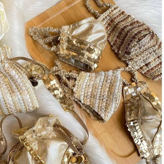 Bling face mask Gold Sequin Reusable Face Mask