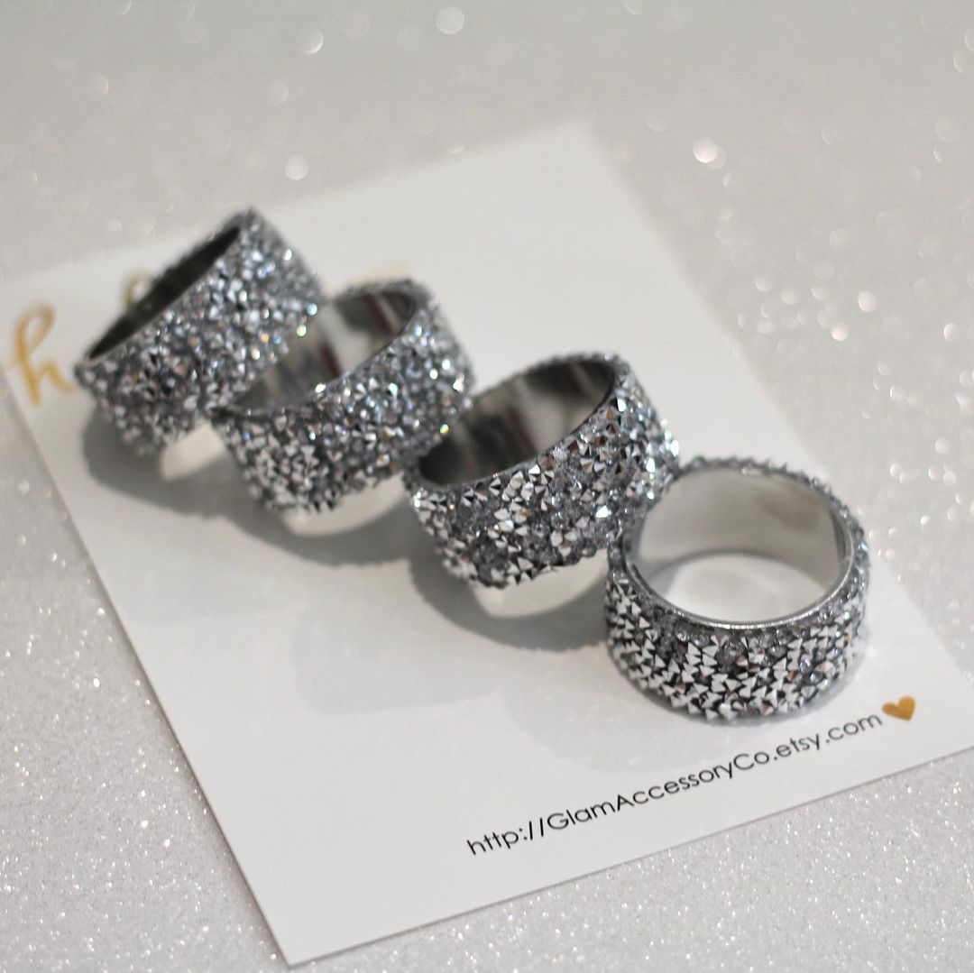 Silver Rhinestones Napkin Rings