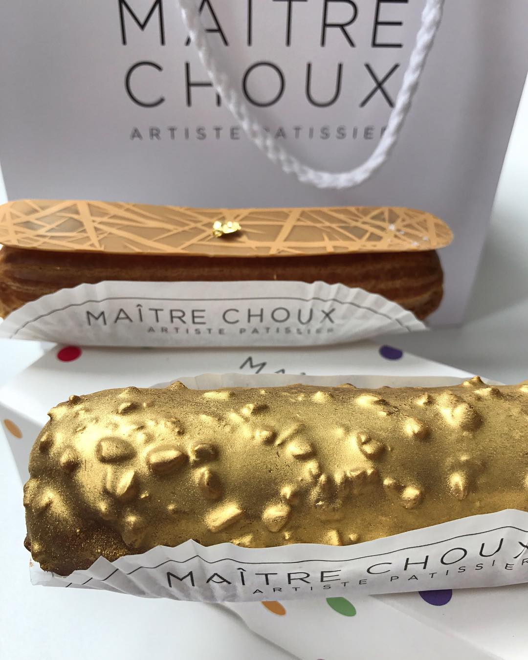 Gold Bling Food Choux Hazelnut & Chocolate Treasure Pastry Covered with 24K Gold