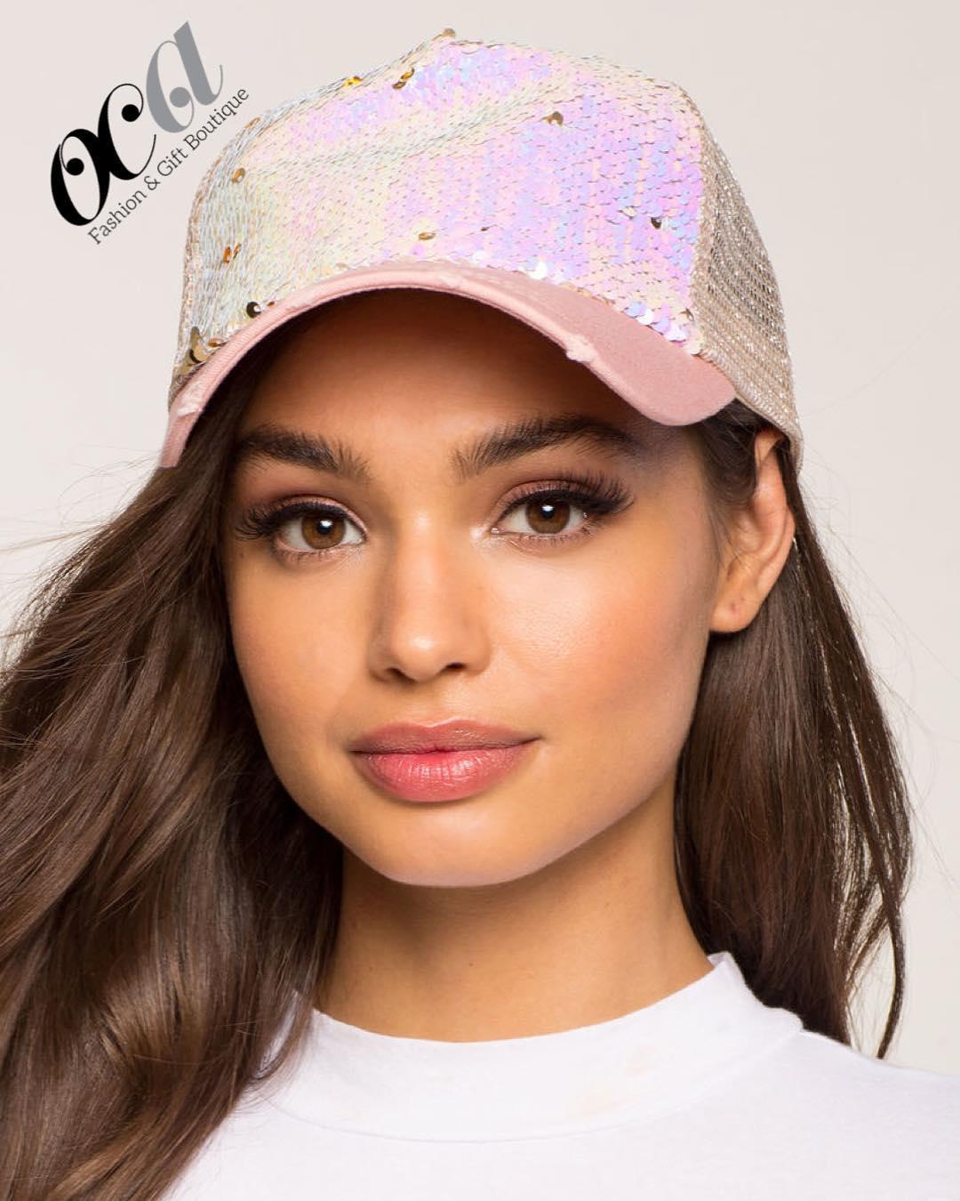 Bling BASEBALL CAPS 0Pink Glittering Matt Finish Sequins Hat