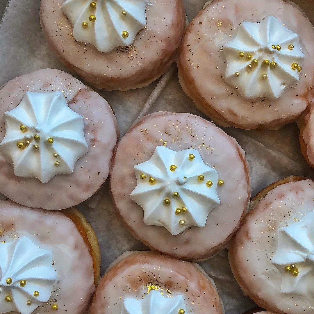 Gold Bling Food Doughnuts Topped with Meringue, Glitter and Gold