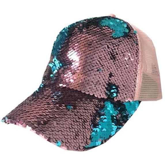 Bling BASEBALL CAPS Flippable Sequins On Mesh Cap