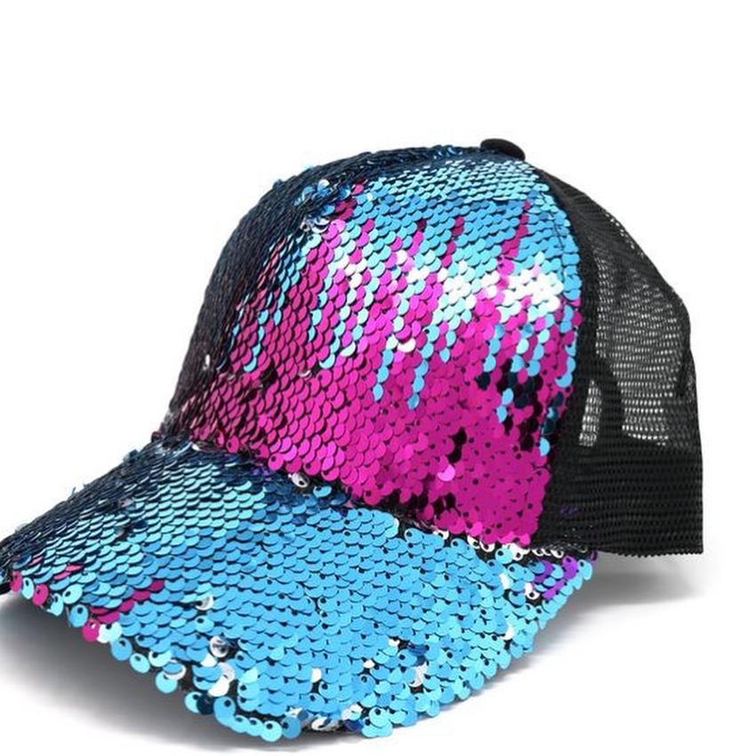 Bling BASEBALL CAPS Multi-Color Sequins Mesh Cap