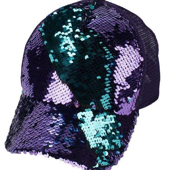 Green and Purple Reversible Sequins Cap