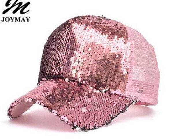 Bling BASEBALL CAPS Glittering Rose Gold Sequin Baseball Cap
