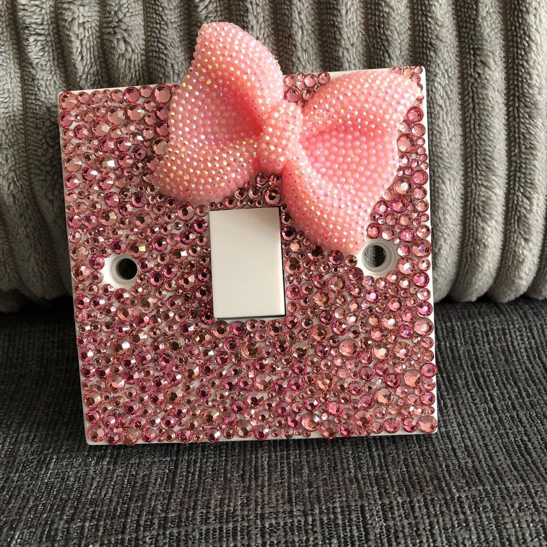 Bling for Your HOME Pink Rhinestones with Bow On The Wall Switch Panel