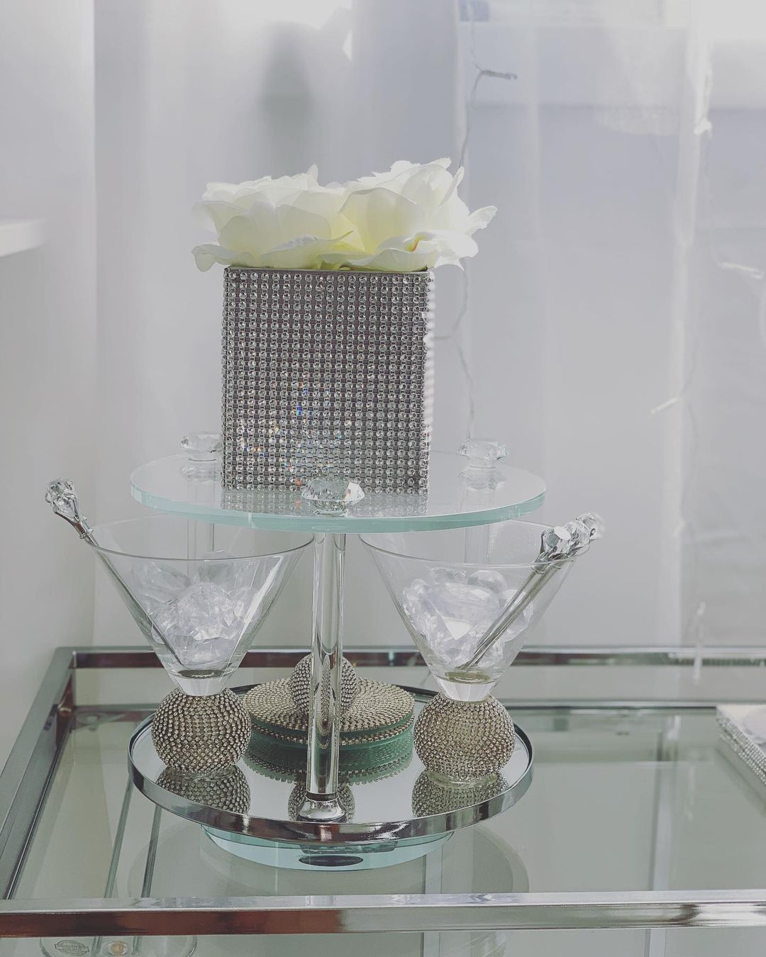 Bling for Your HOME Clear Crystal Whiskey Shot Glasses with Rhinestones