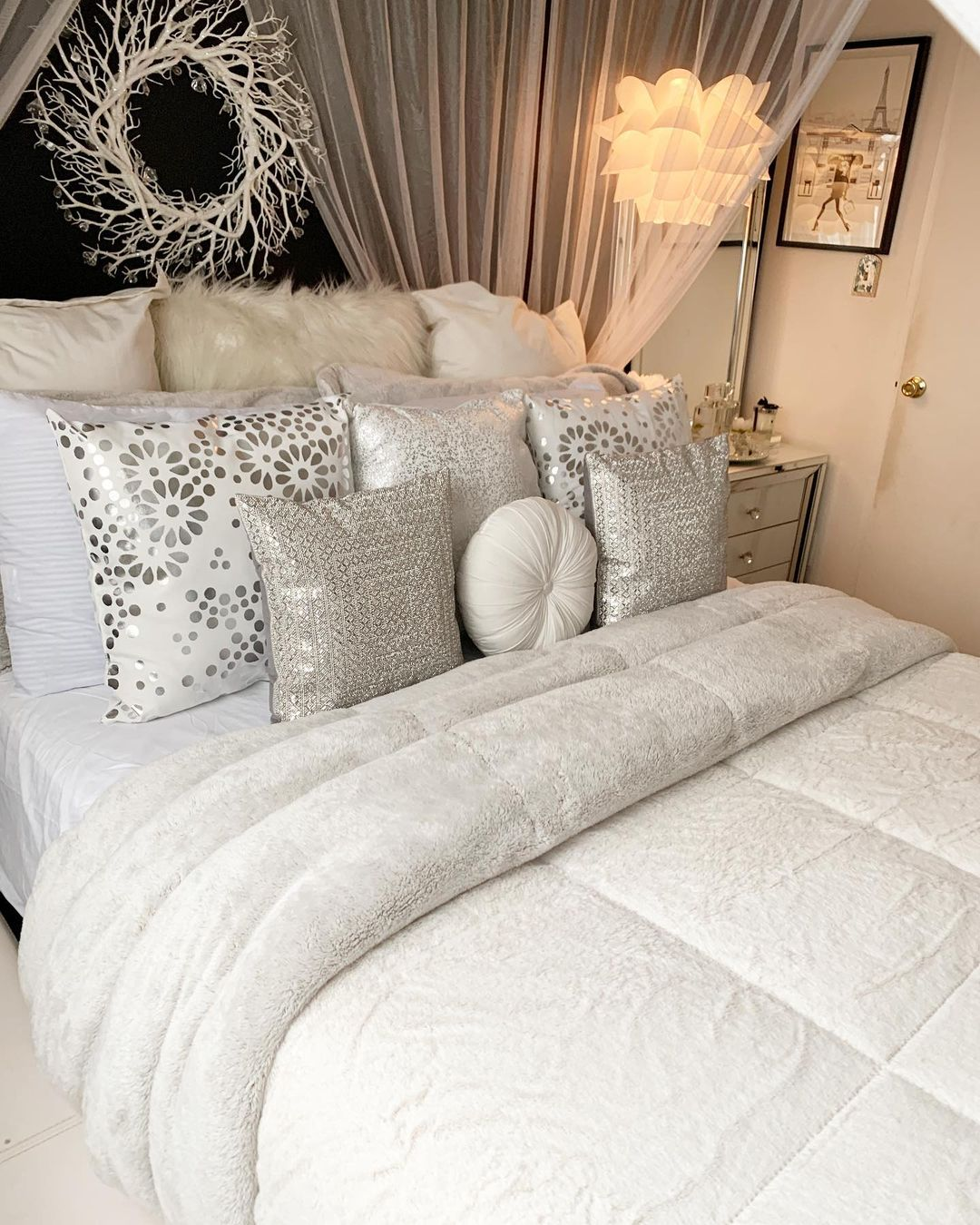 Bling for Your HOME Cozy and Comfy Silver Sequin Pillow Covers