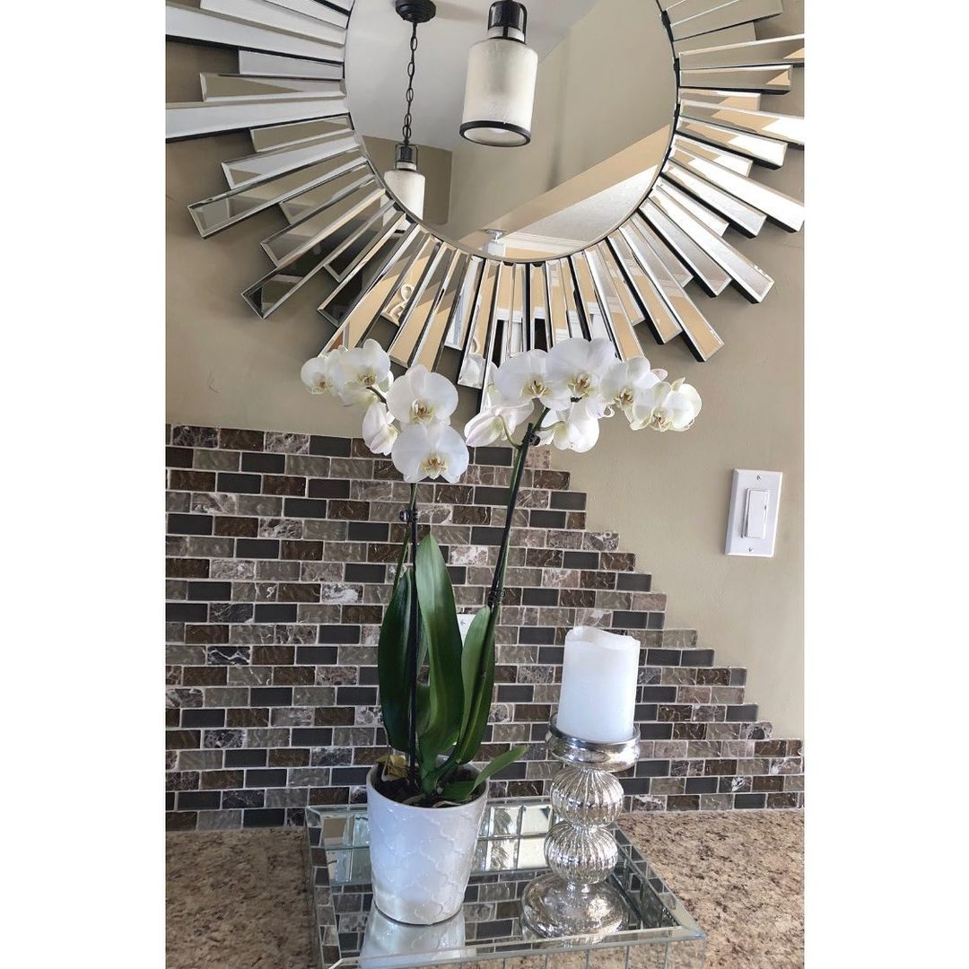 Bling for Your HOME Bling Mirror On The Wall with Glass Crystals Around It