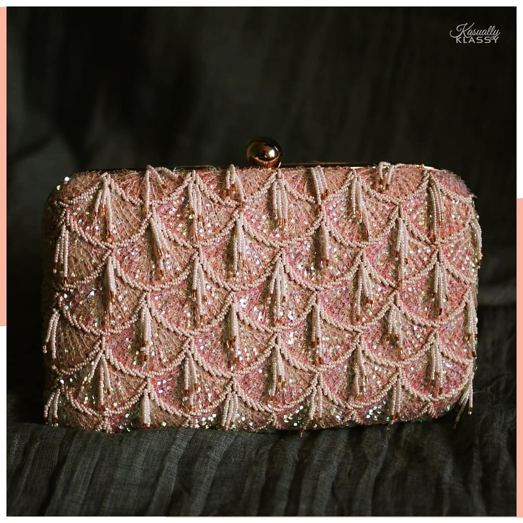 Pink Evening Clutch with Sequins and Beaded Tassles