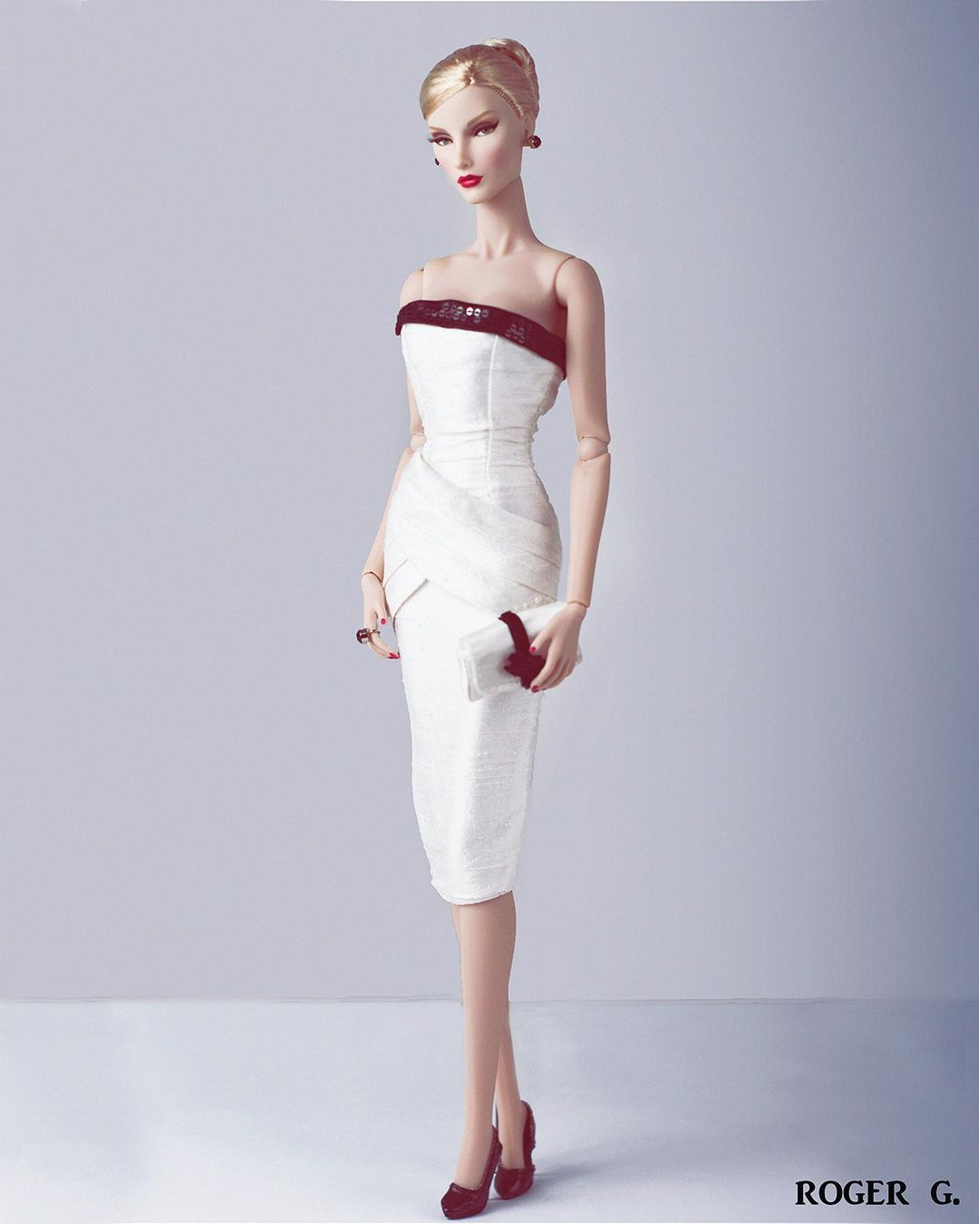 White Short Sleeveless Dress with Sequin Trim