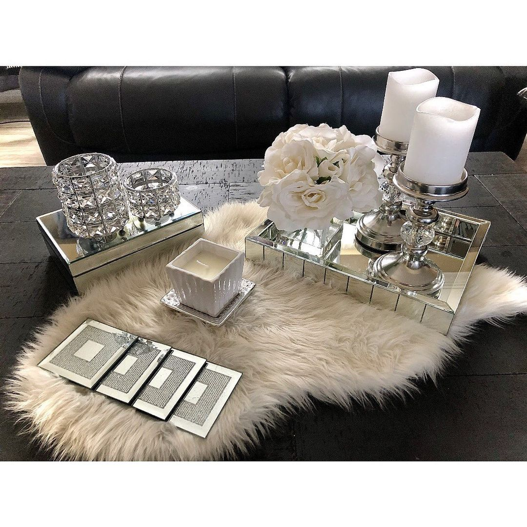 Bling for Your HOME Center Table Crystal Home Decor with Round Organizer and Candle Stand