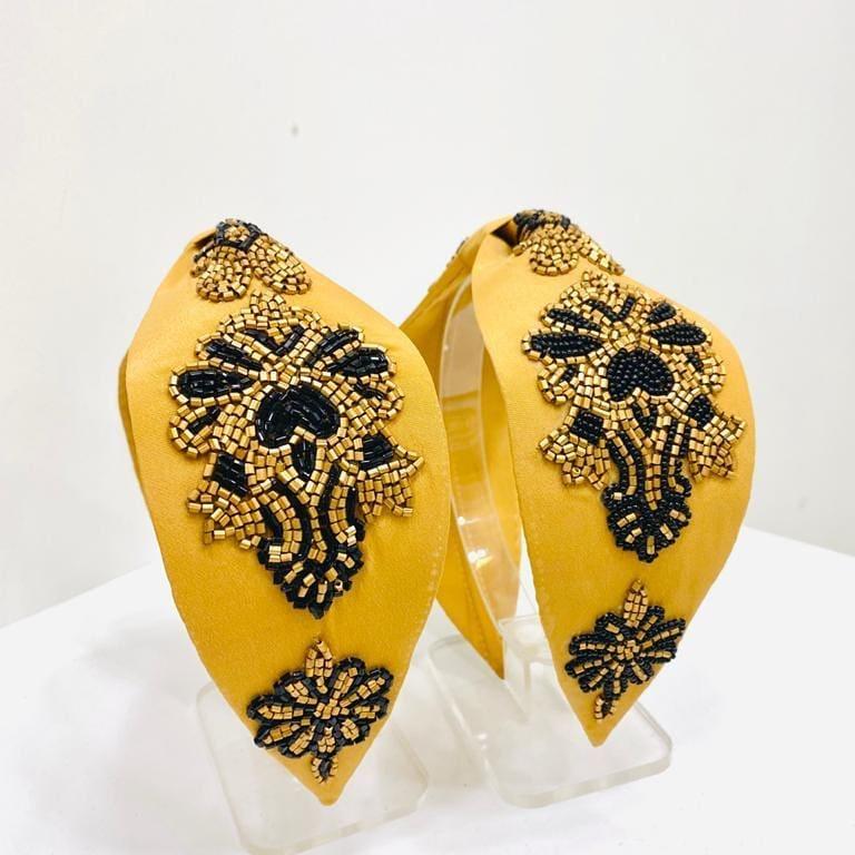 Yellow Handmade Headband with Beads