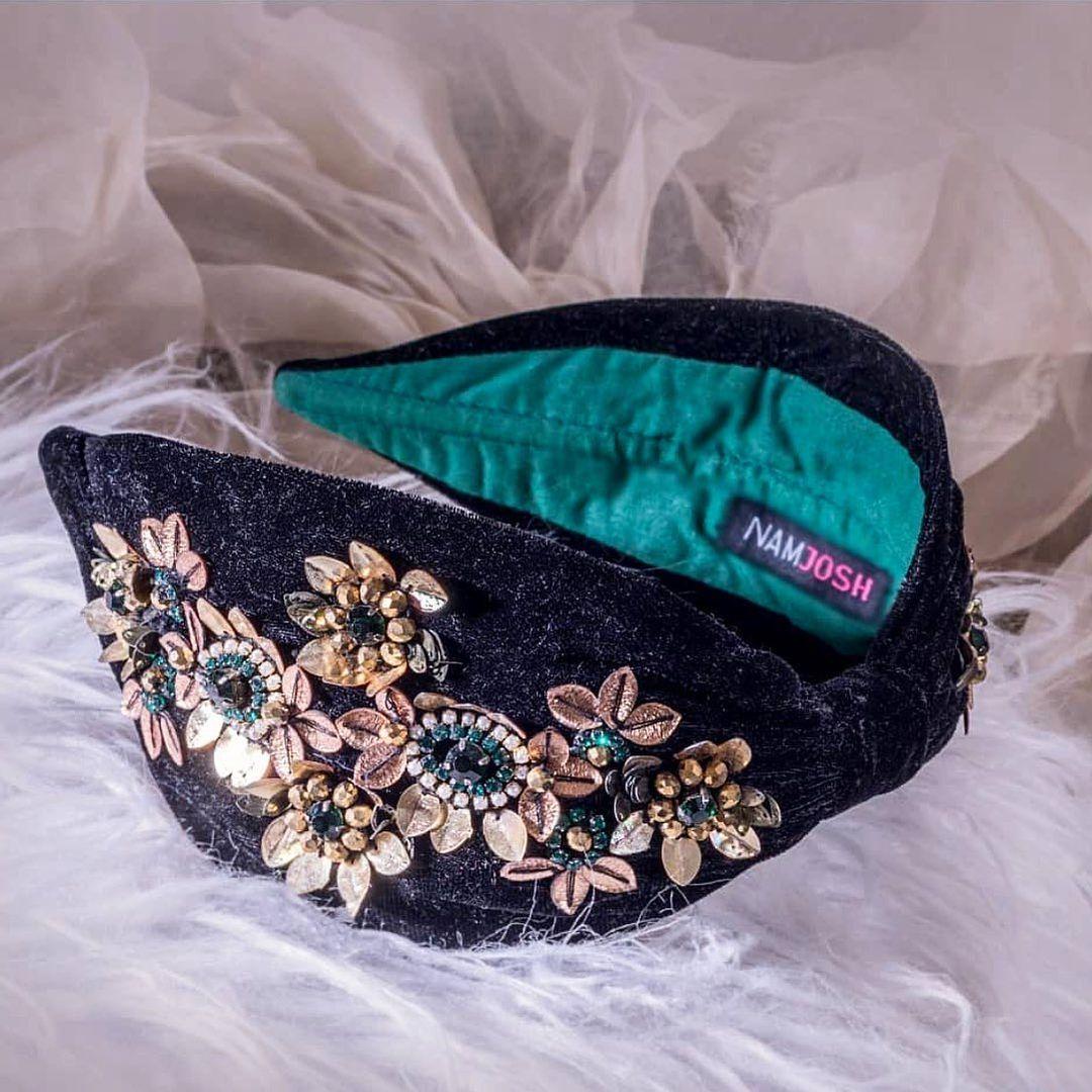 Handmade Black Velvet Headband with Rhinestones Embellishments