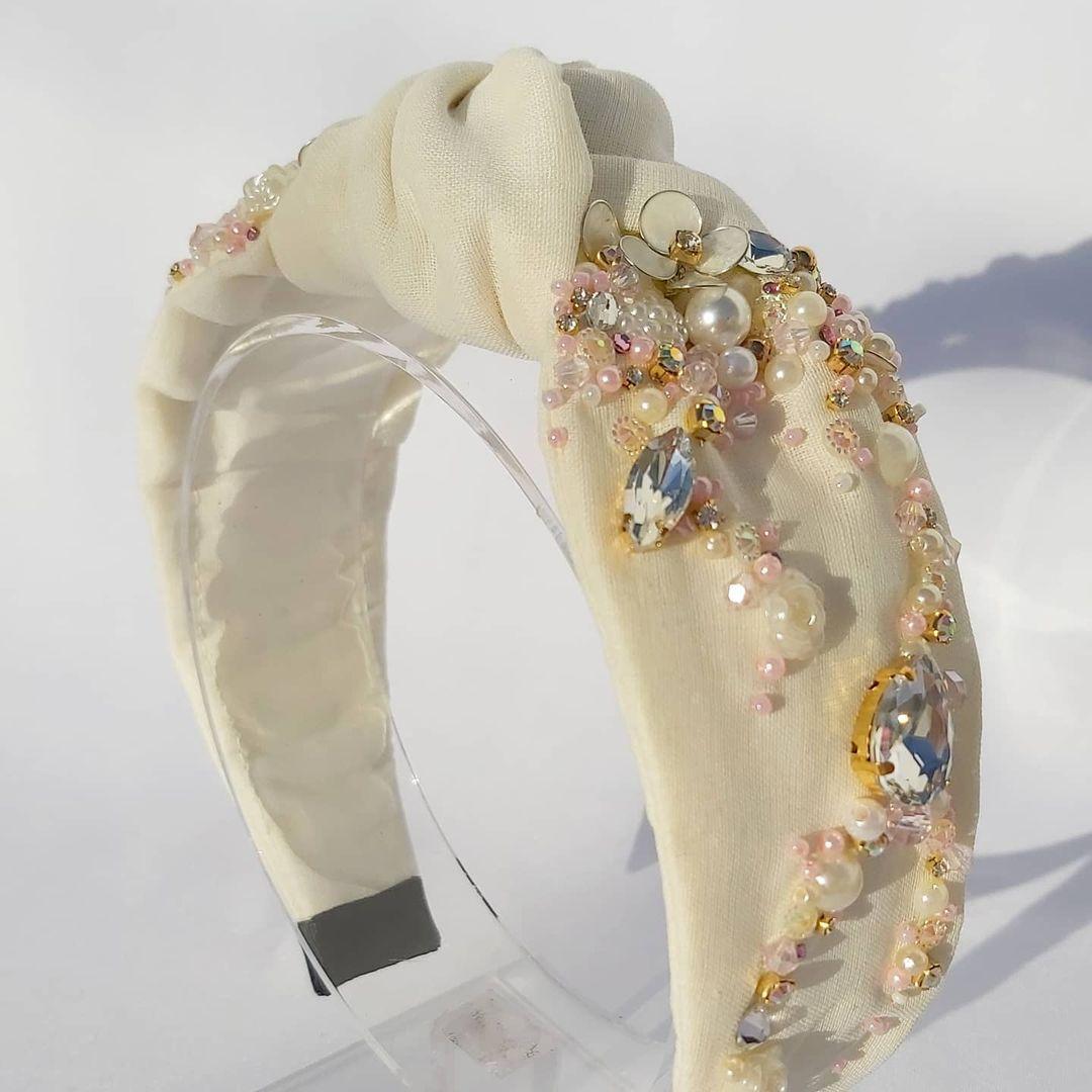 White Handmade Headband with Beads and Rhinestones