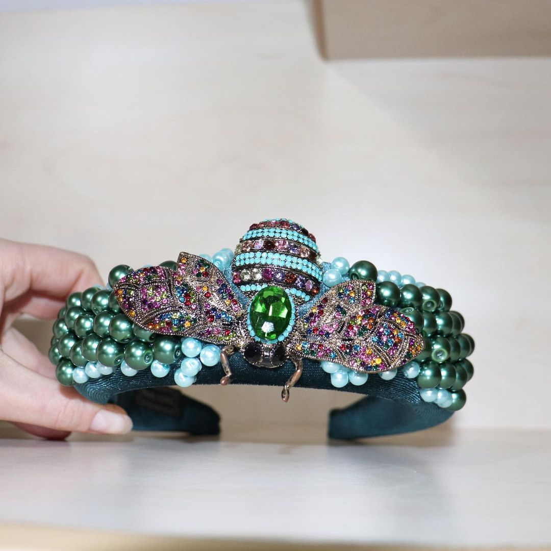 Glittering Handmade Headband with Beads and Honeybee Brooch Rhinestones