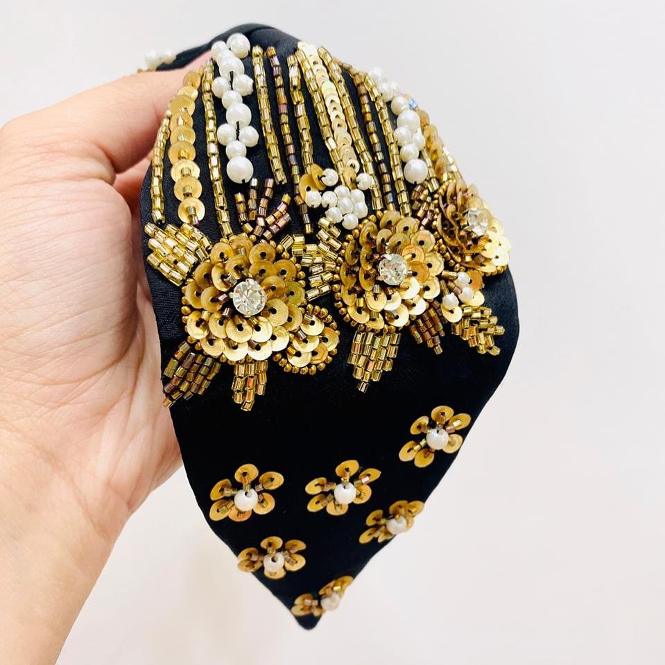 Handmade Black Headband with Gold Beads and Sequins with Beads