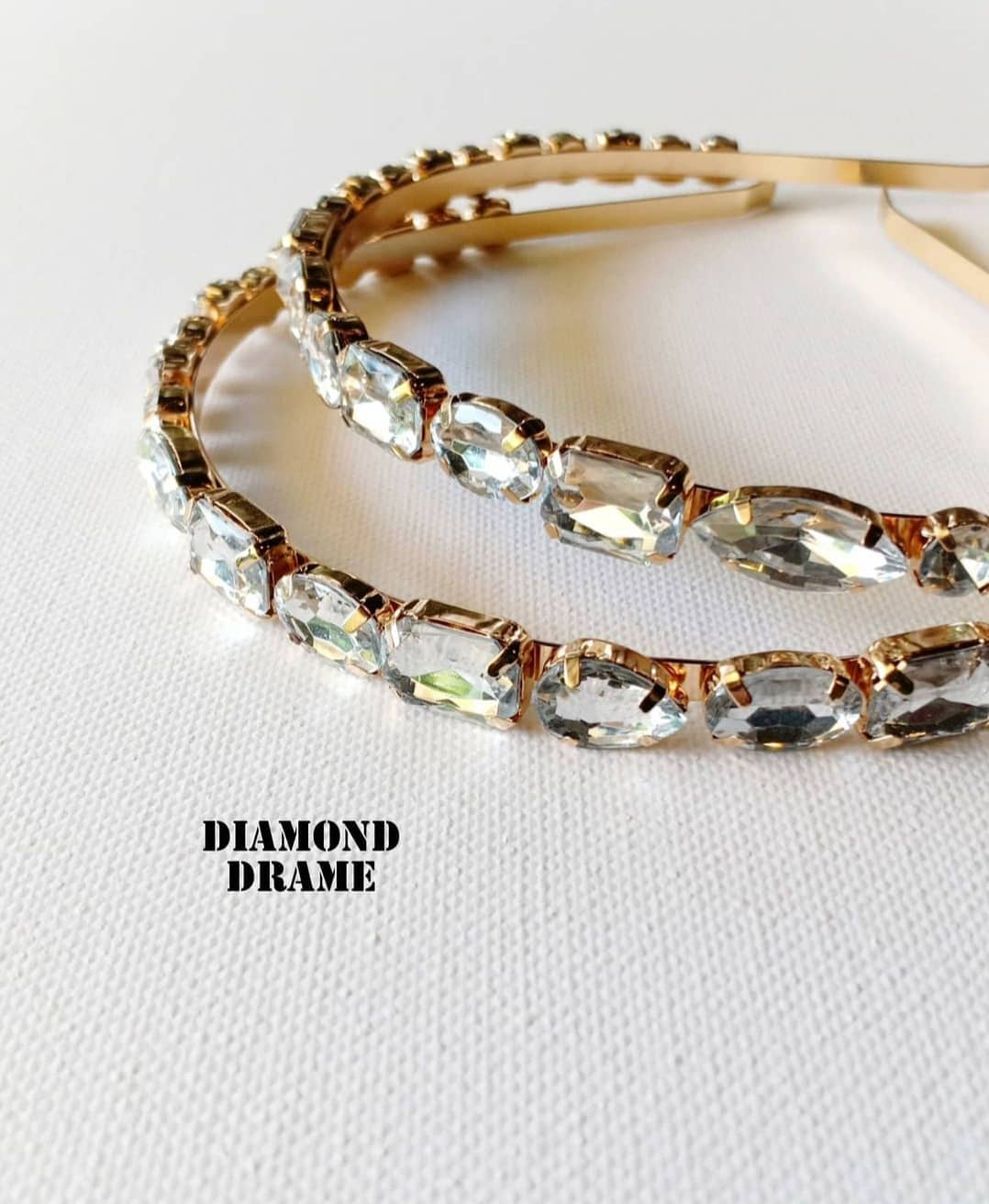Gold Handmade Headband with Clear Crystal Rhinestones