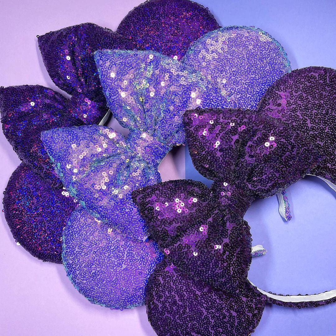 Bling Purple Sequin Fabric Headband with Big Bow