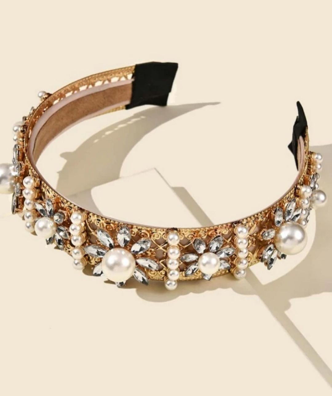 Elegant Gold Hairband with Clear Rhinestones and Pearls