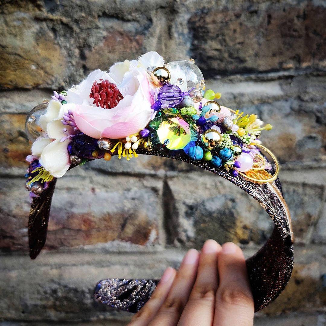 Handmade Floral Headband with Beads and Rhinestones