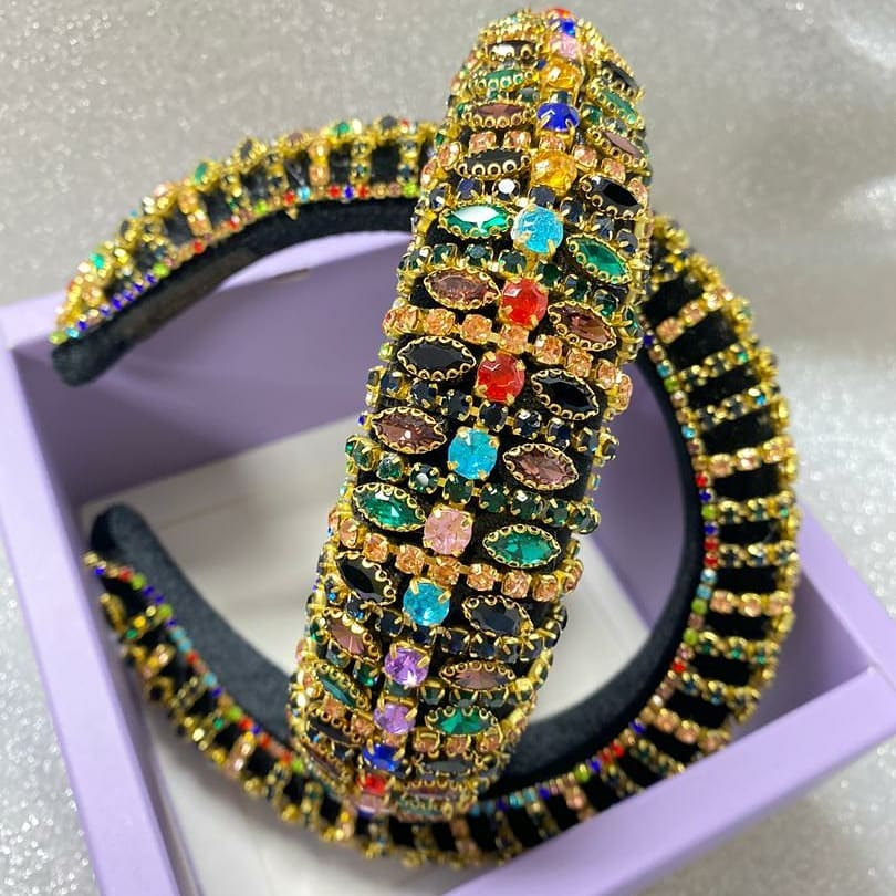 Glit! Glit!! Multi-Colour Crystals with Gold and Black Headband