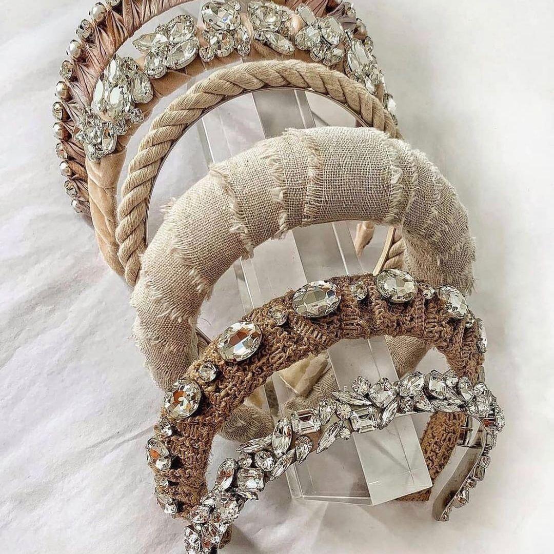 Handmade Hairband with Clear Crystal Stones