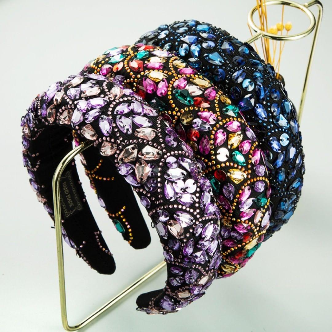 Black Handmade Headbands with Colourful Crystal Rhinestones