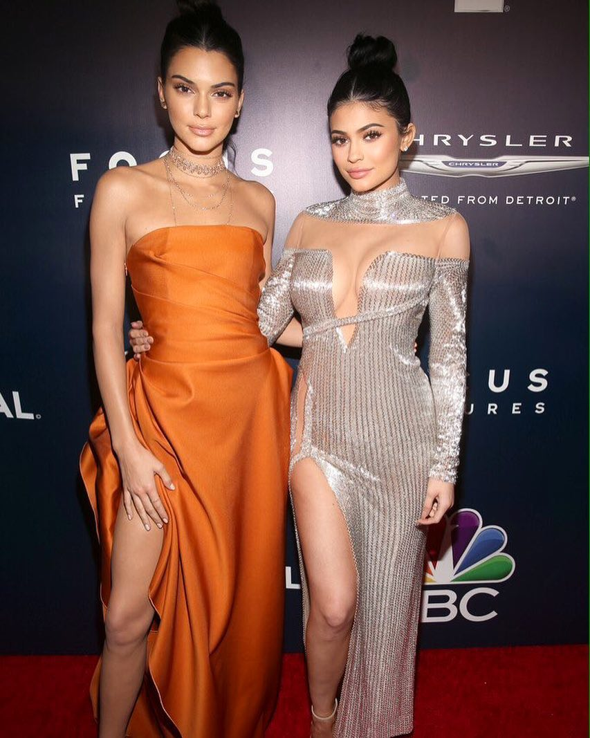 Kylie Jenner In A Long Sleeves Off The Shoulder, Deep V-Neck Long Gown with Sequins