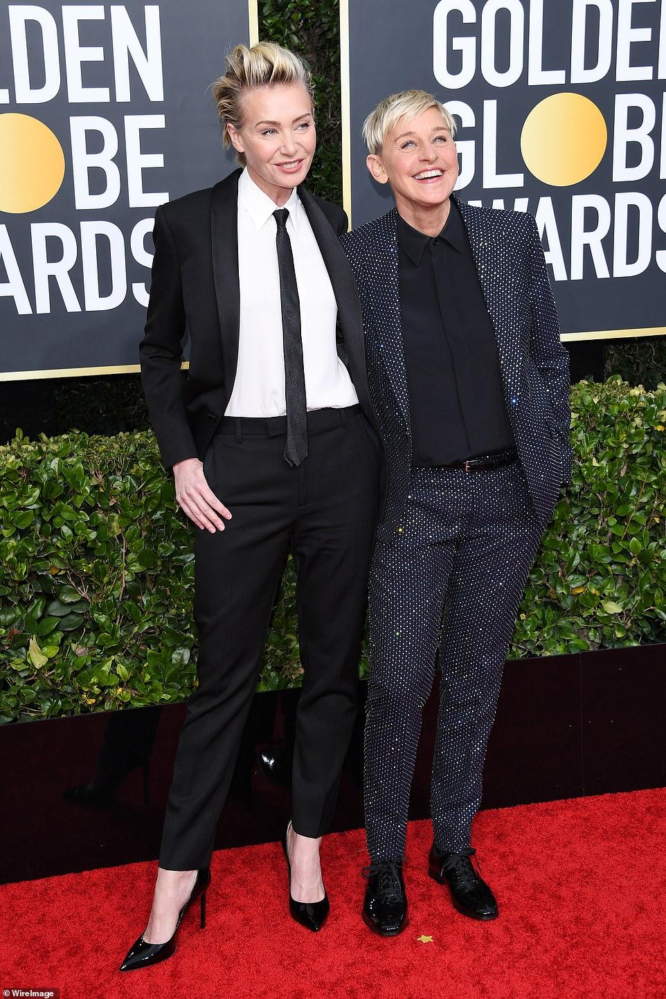 Red Carpet bling Ellen DeGeneres Wears Her Glittering Black Suit with Rhinestones