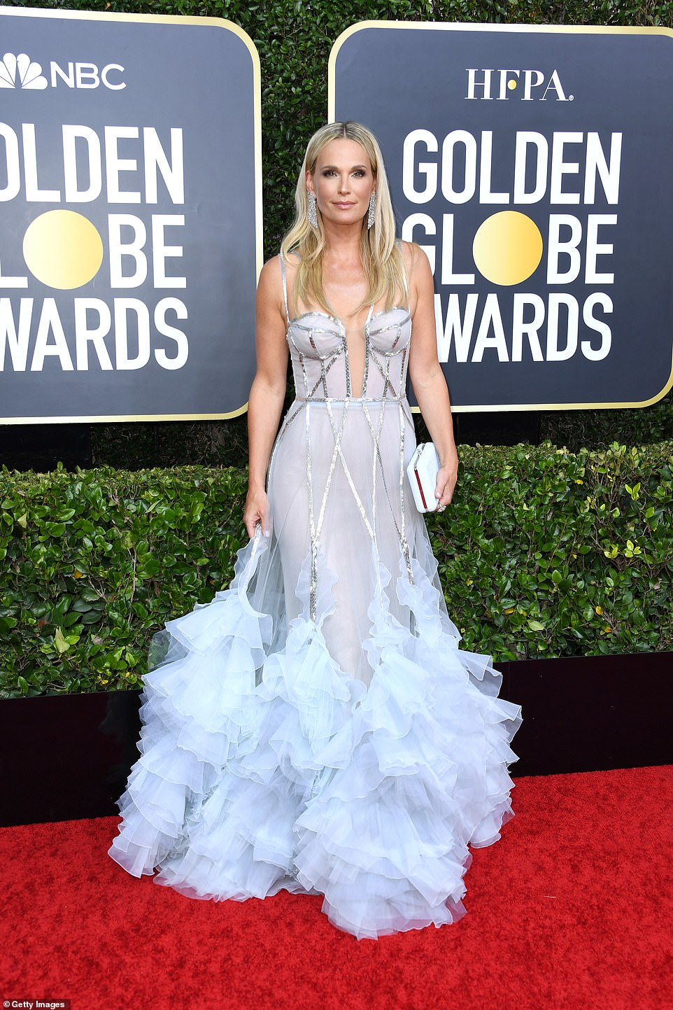 Molly Sims In Her Ice Blue Long Gown with A Pair of Glittering Earrings