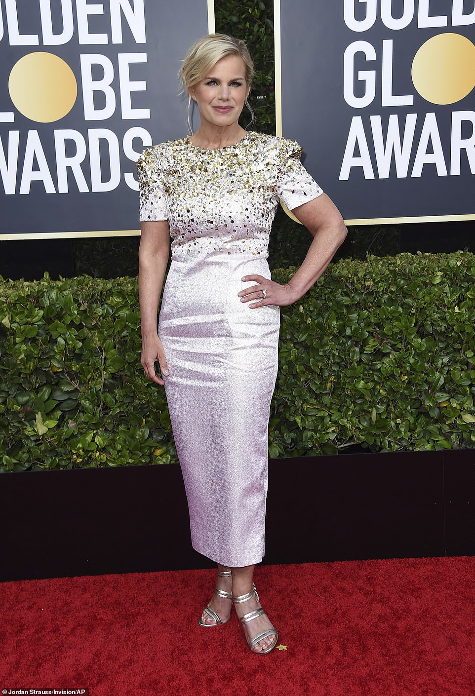 Red Carpet bling Gretchen Carlson In A Long Gown Short Sleeves with Sequins and Rhinestones