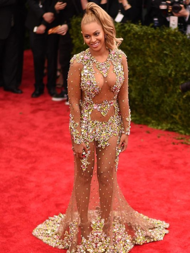 Celebrities Wearing Bling Beyoncé Wearing A See Through Embellished Long Sleeves Gown with A Train