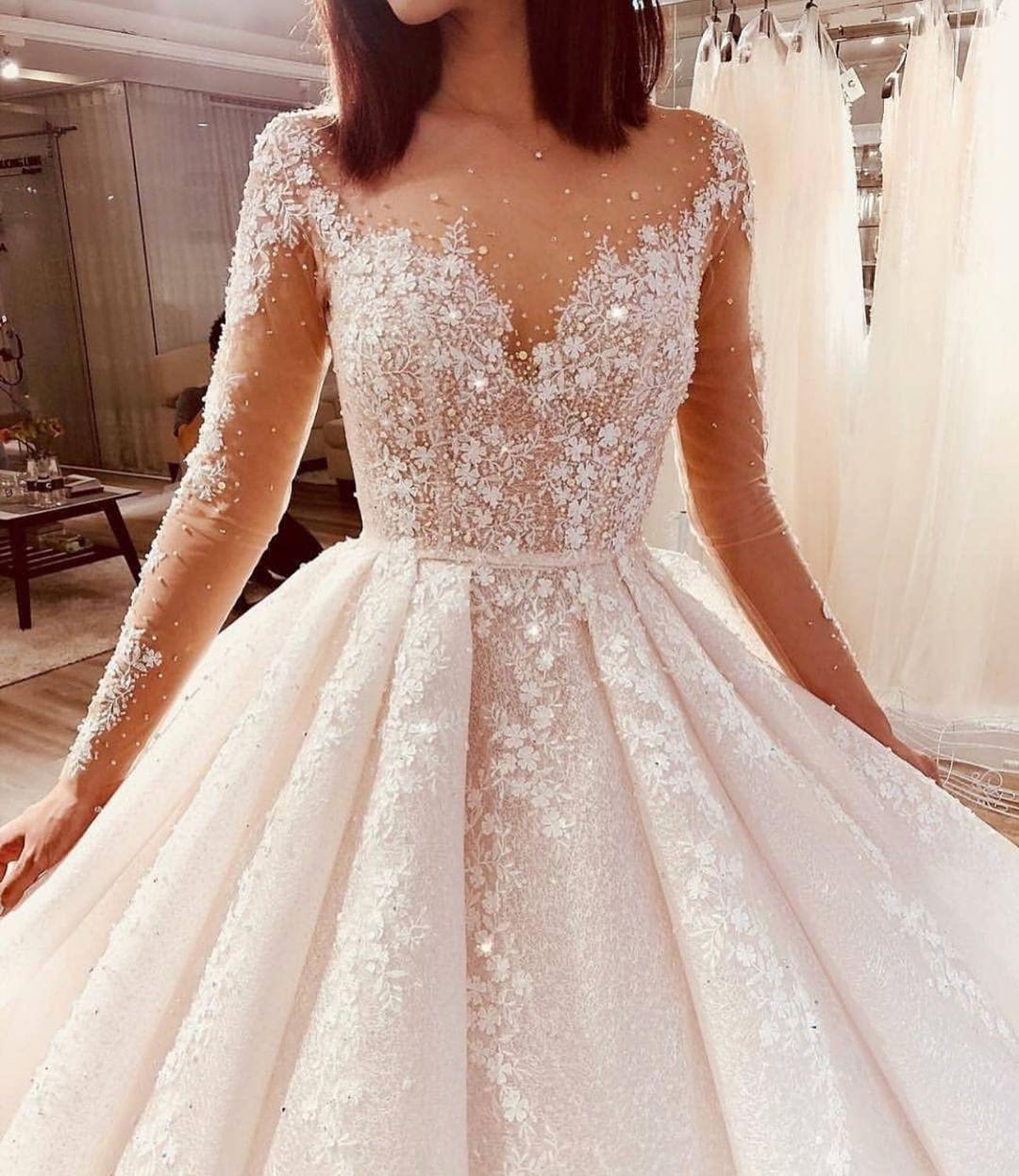Wedding dress bling Elegant Long Sleeve Wedding Gown with Pearls and Rhinestones
