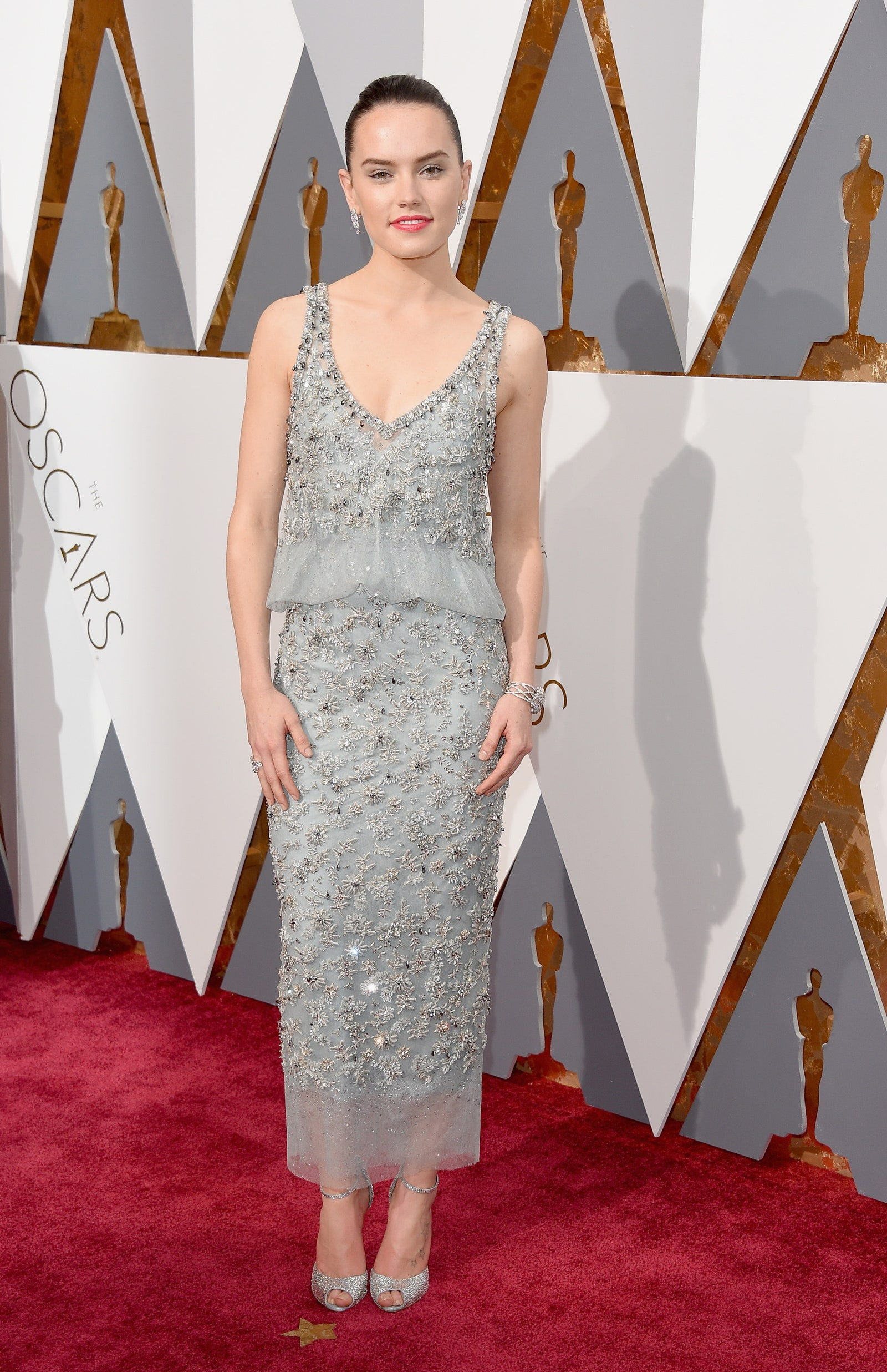 Daisy Ridley In A Glittering Silver Sequin and Beaded Dress