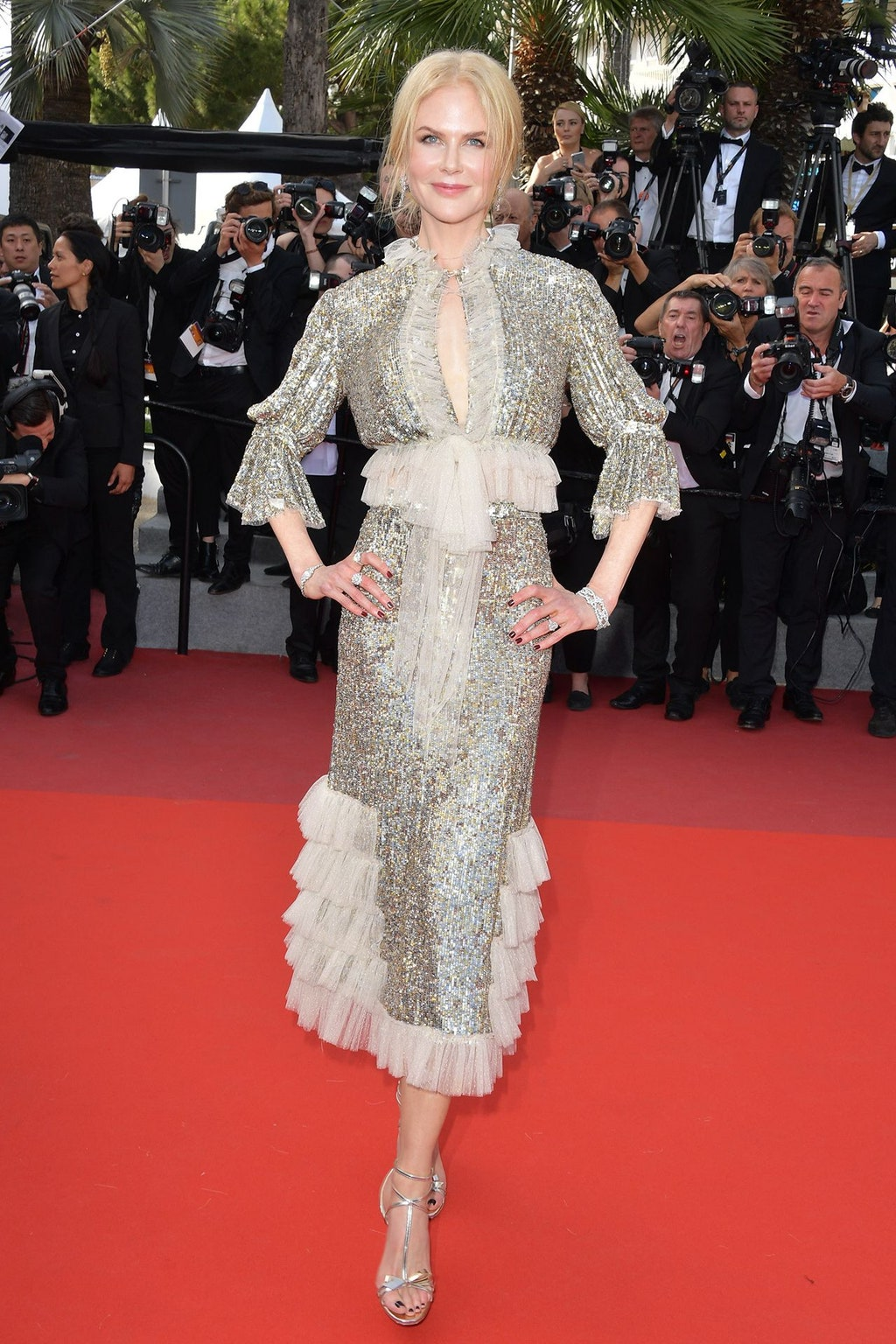 Red Carpet bling Nicole Kidman In Her Silver Sequin and Ruffle Trim Keyhole Short Dress