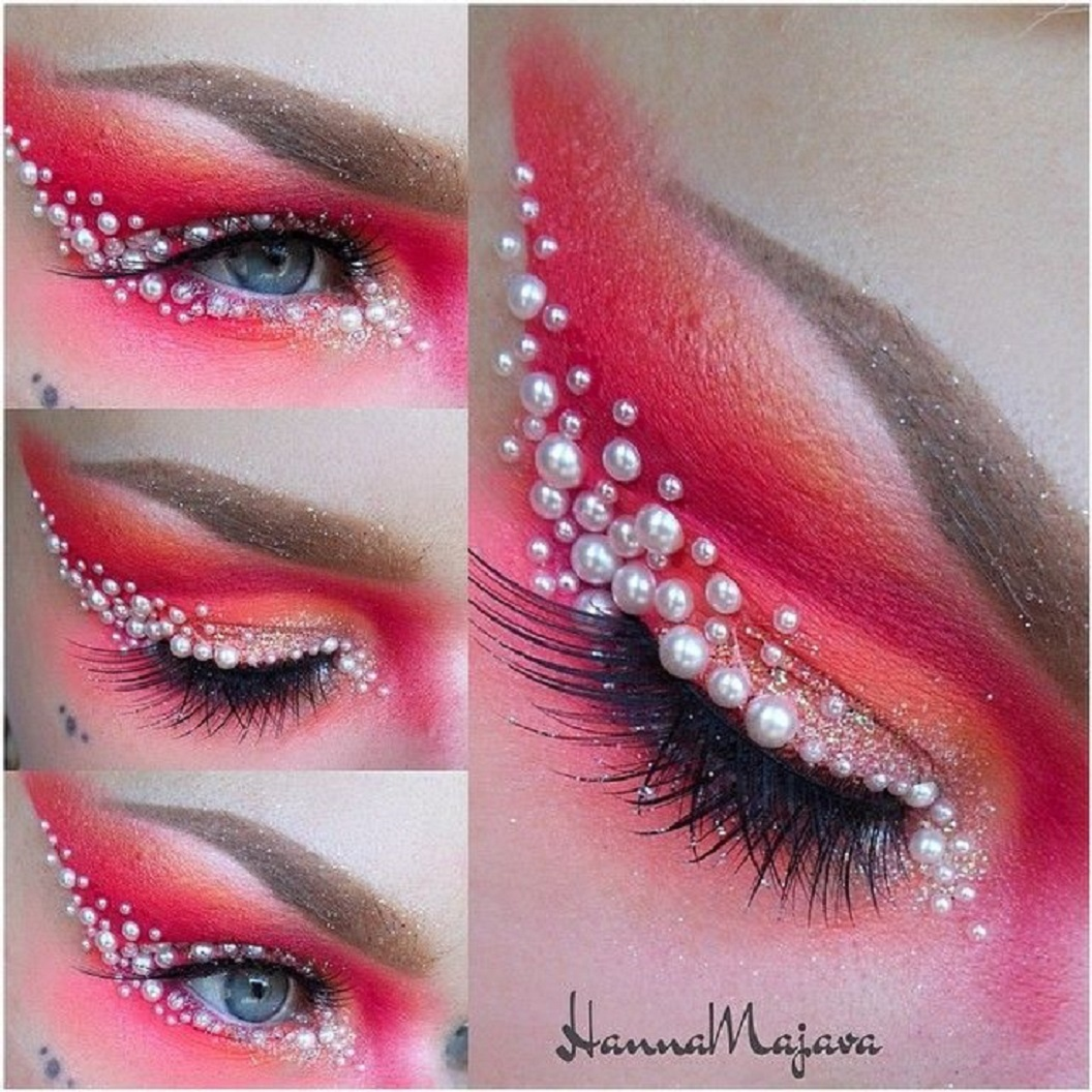 Bling makeup Bling Bling Pink Eyes Colour with White Pearls Around The Eye