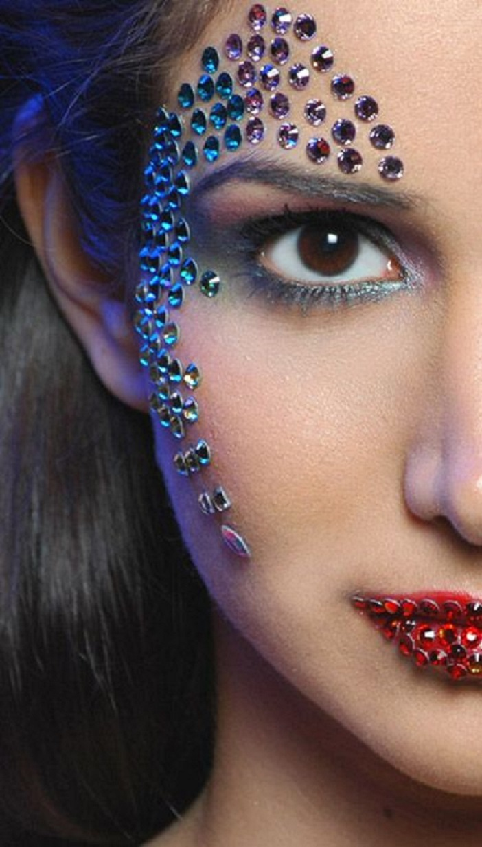 Bling makeup Black Eye Liner with Multi-Colour Rhinestones Around The Eye and On The Lips