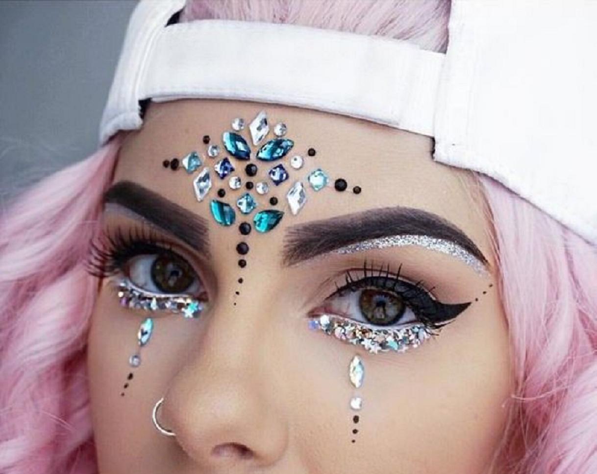Bling makeup Face Jewels Rave Makeup Rhinestones, Unicorn Princess Crystal Face Sticker