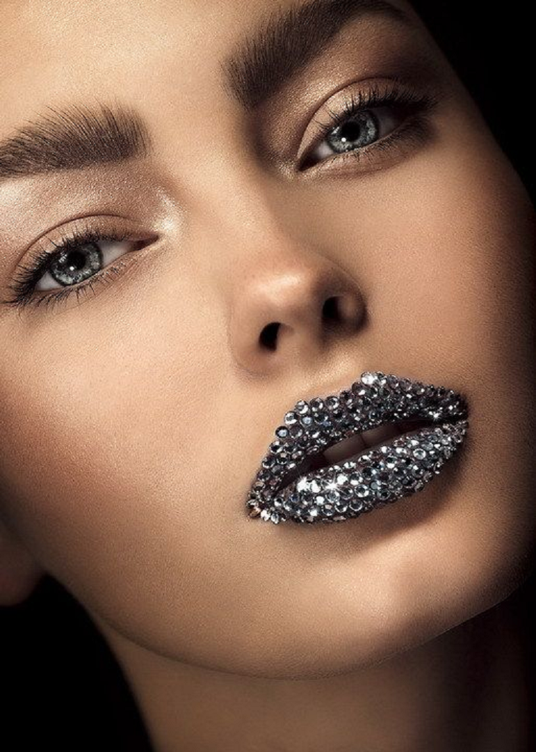 Bling makeup Glittering Black Rhinestones On The Lips with Black Lipstick