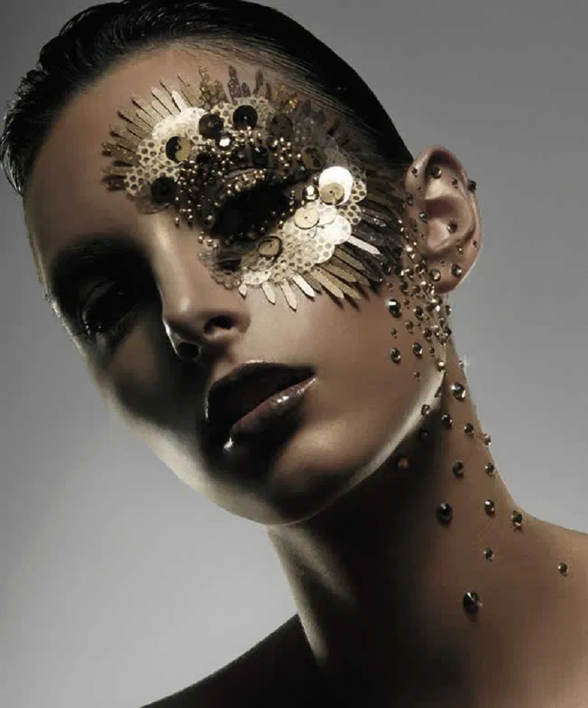 Bling makeup Gold Sequin, Rhinestones and Glittering Dust Around The Eye