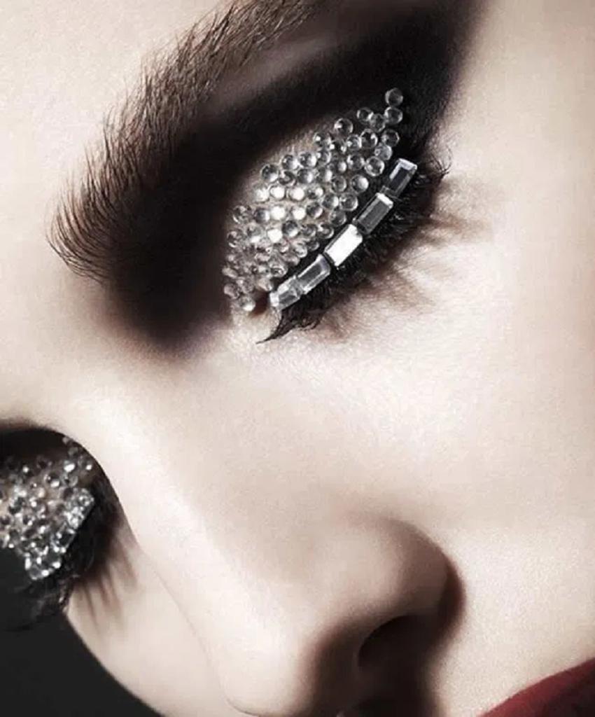 Bling makeup Black Eye Shade with Long Eyelashes and Silver Rhinestones and Crystals