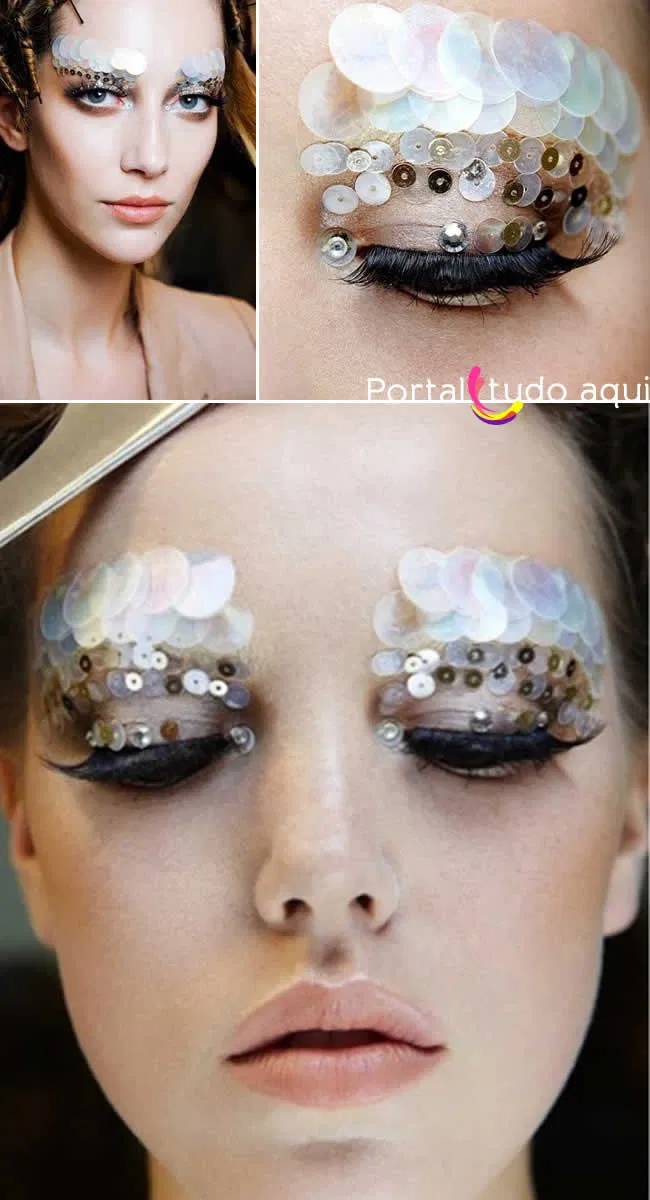 Bling makeup White and Gold Sequins On The Eyebrows