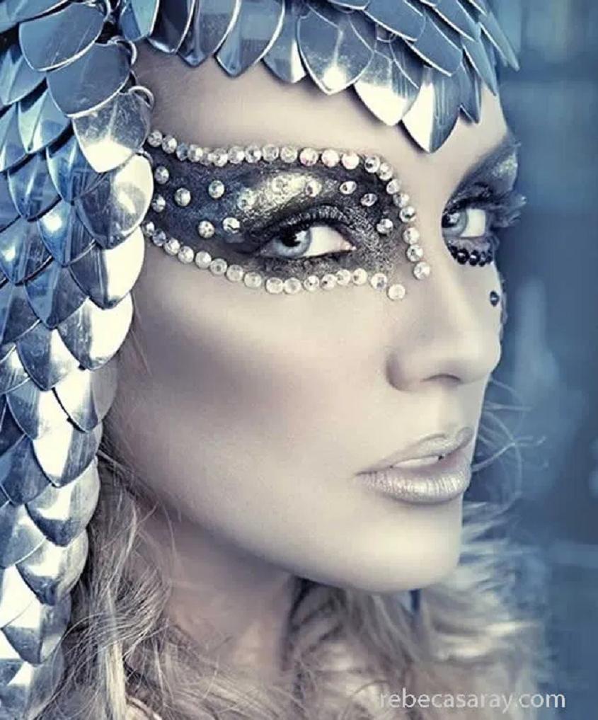 Bling makeup Black Eye Shade with Glittering Silver Rhinestones