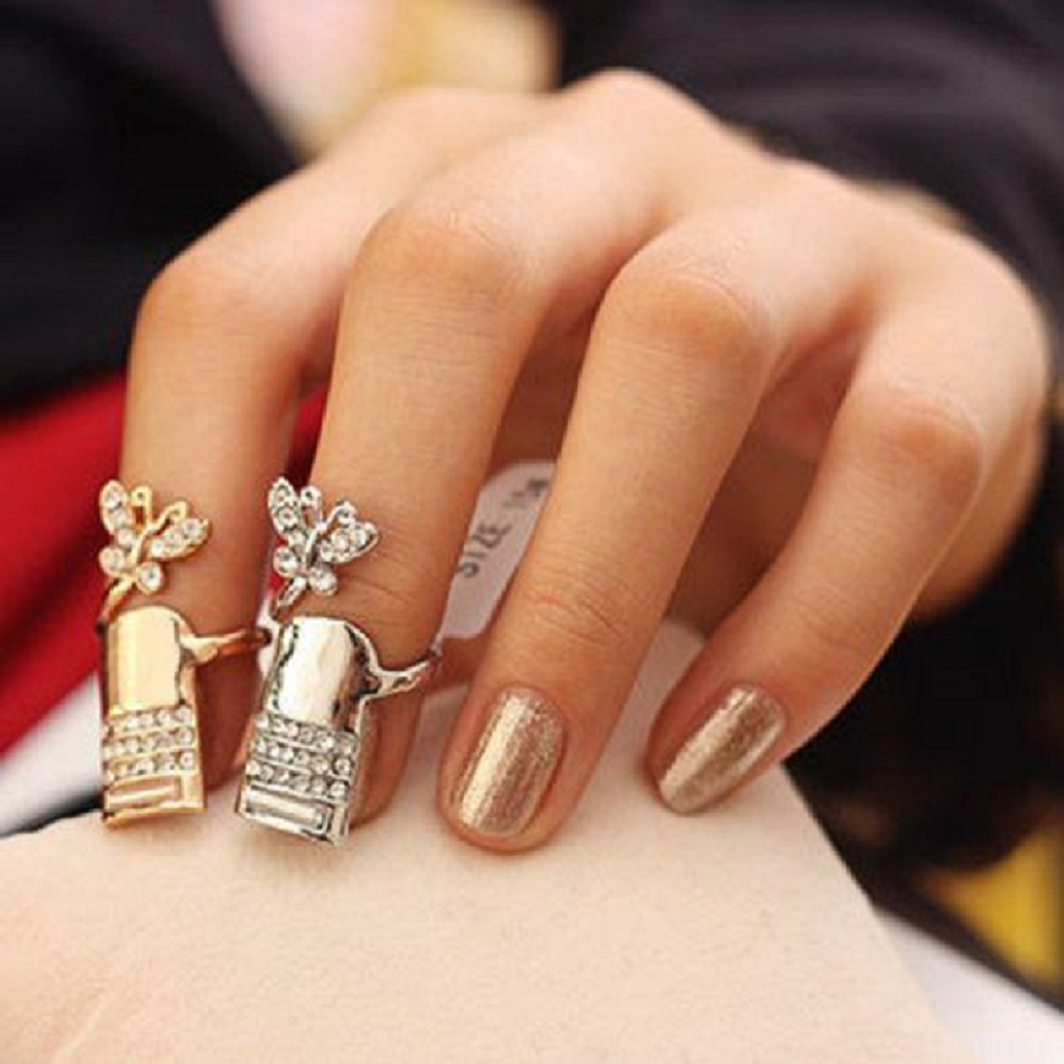 Nail ring bling Glittering Gold and Silver Nails Cover with Rhinestones