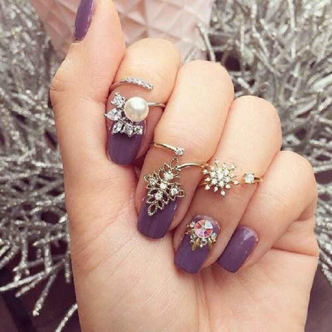 Nail ring bling Glittering Nail Ring with Rhinestones, Crystal Stone and Pearl