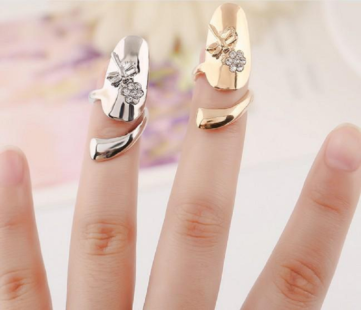 Nail ring bling Gold and Silver Finger Nails Ring with Rose Engraved with Rhinestones