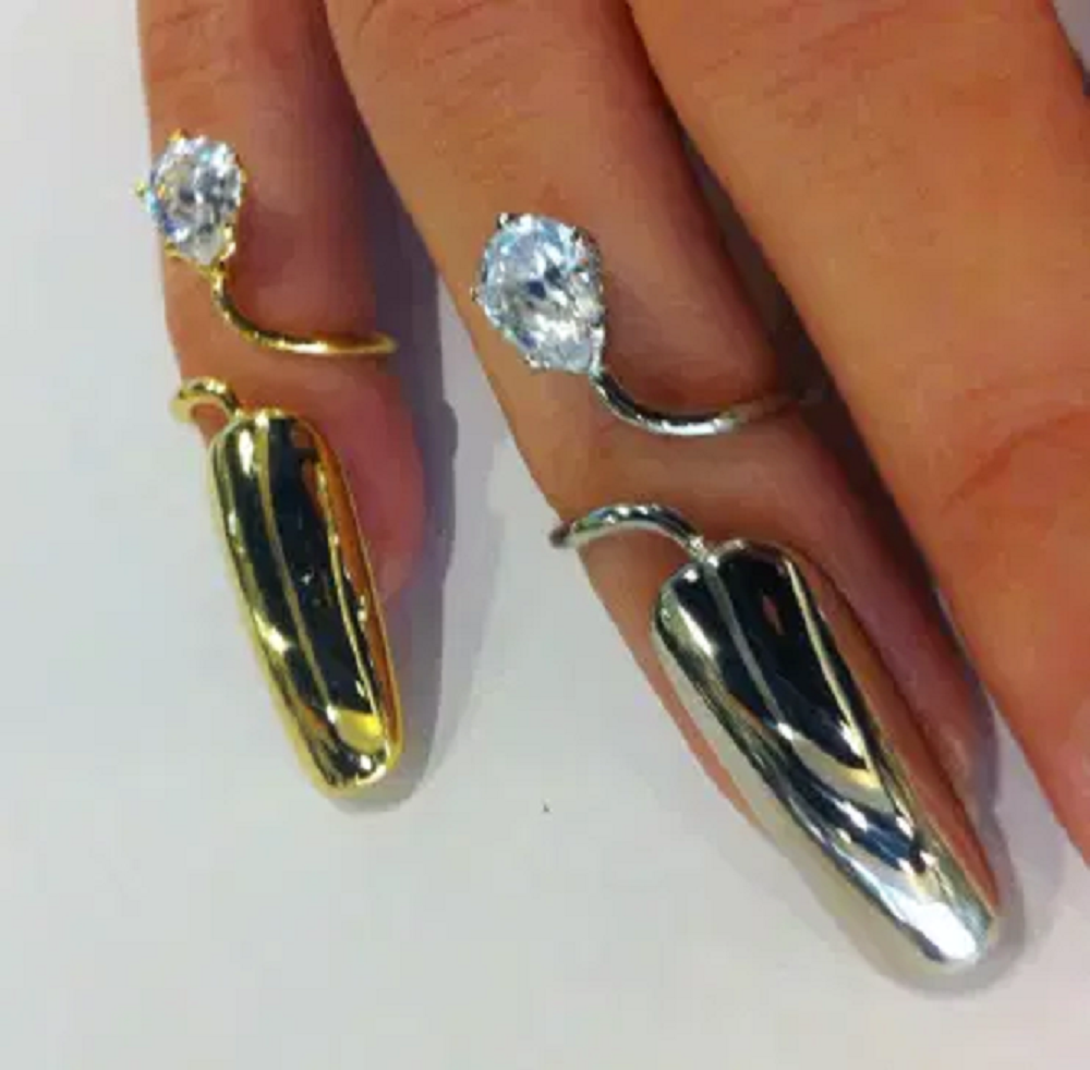 Nail ring bling Gold and SIlver Platted Full Nail Cover Ring with Glittering Diamond Stones