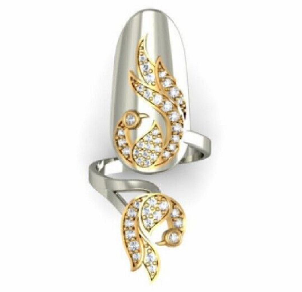 Nail ring bling Metallic Silver with Gold Engraved Design and Rhinestones Embilleshed Nail Ring